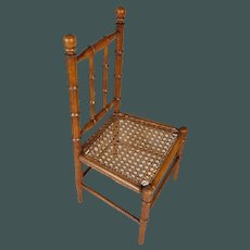 """Beautiful antique French small 16,5"""" faux-bamboo chair for antique bisque doll"""