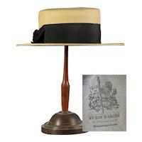 Beautiful antique French Paris AU BON MARCHE Authentic c.1890 straw hat Boater