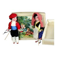 """Pair Antique French 6.3"""" mignonette Dolls with bisque heads in original box"""