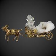 Antique French Palais Royal Goat Cart Baccarat Perfume set and Powder Puff