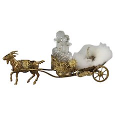 Antique French Palais Royal Goat Cart Baccarat Perfume set and Powder Puff