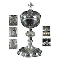 Superb French 19th century first degree Silver Ciborium Demarquet Freres Paris Crucifixion of Christ