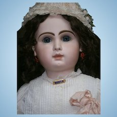 """35"""" (85cm)EXQUISITE BIG ANTIQUE FRENCH BEBE JUMEAU blue-eyed/great clothed.  ready for your collection."""