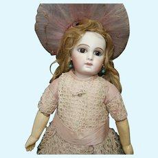 """16"""" first  series  antique Portrait  jumeau size 0, bebe DOMINiQUE , provenance embroided underwear"""