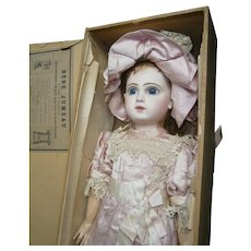 "22""antique bebe Jumeau 10, in pink silk dancing dress,  earlier mold ,boxed set."