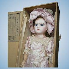 "22""antique bebe Jumeau 10, in pink silk dancing dress,  earlier mold ,boxed set."