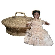 """13"""" TINY Black German all original  doll 277 B&P for the french market  with attire  of clothes and straw  basket"""