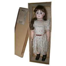"23"" Antique bisque doll French tete Jumeau  size 10,  closed mouth,  blue eyed.  marked jumeau  shoes.  boxed seT"