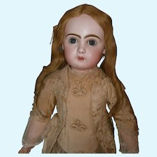 """30"""" bebe Jumeau size 13 C/M with exciting blue eyes and coutured camel & flowered dress"""