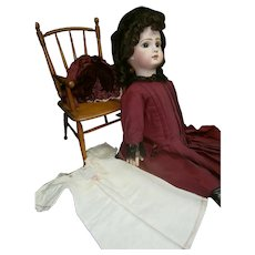 "25""(63cm) Loviest  antique FRENCH doll bebe Jumeau 11""  in muslim chemise+ extra dress"