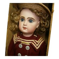 "20"" (51cm) stunning  bebe Jumeau  size 9  boxed set  in red marine  outfit /blue eyed"