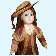 """33"""" (85cm) EXCEPTIONAL Bebe Jumeau size 15 in couture Costume"""