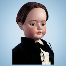"""Enormous biggest 44""""(107cm )HH 79-size 19 antique German bisque doll/sleep eyed perfect condition boy."""