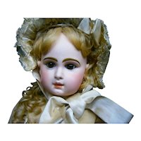 "32"" (80CM) French Bebe Jumeau Size 15 bronwn-eyed with sil hat and jumeau shoes"