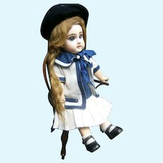 Jumeau 3 white and blue sailor dress