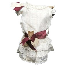 White dress with burgundy silk lace