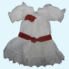 White dotten-swiss blouson bebe Dress