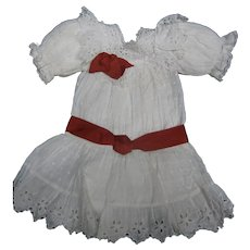 White dotten-swiss blouson bebe Dress