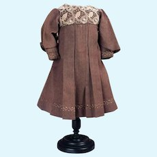 Brown silk/woolen dress with lace bodice