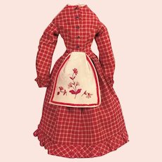 Red plaid linsey-woolsey dress with wool flannel embroidered apron