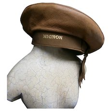 """Leather sailor's hat with grosgrain""""Mignon""""  ribbon band"""