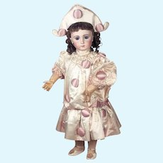 "35"" SPLENDID French bisque bebe jumeau triste  size 16 in coutured satin costume"