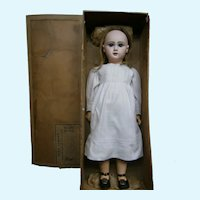 "30"" Breathtaking bebe Jumeau  size 14 earlier mold  BLUE  eyed -jumeau  14 shoes, preserved in bebe jumeau trademark box"