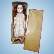 "15"" (37cm) tiny perfection , All original french antique bebe JUMEAU 5 -chemise de presentation & box jumeau with lid"