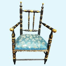 CUTEST  black and gold french Napoleon STYLE DOLL CHAIR wood