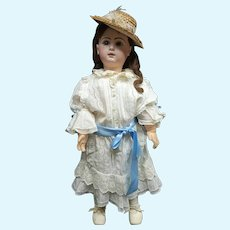 "33"" perfect  bebe JUMEAU SIZE 15  blue-eyed with 2 dresses and straw hat for promenade"