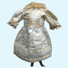 Antique French doll`s  dress in pale blue , perfect fitting for a bebe sized 9-10  (18-20inches doll)