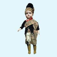 """15""""(37CM)  Cutest ORIGINAL  scottish tartan dressed antique German  A.Marseille doll in german college basket"""