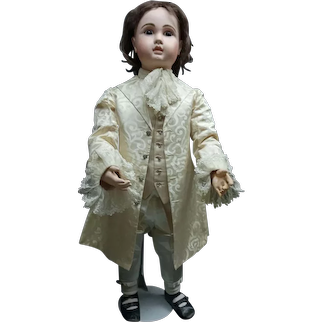 "39"" GORGEOUS   big  Perfect antique   french BEBE  FIGURE A  . JULES Nicholas STEINER with lever eye mechanism STEINER, coutured dressed"