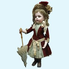 Perfect BEBE BRU Size 9 original french coutured with attire  in  wooden trunk, extra clothes  and marked Bru shoes