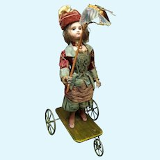 """gorgeous  French  Antique automaton pull toy """"lady catching butterflies""""  by VICHY, circa 1875"""