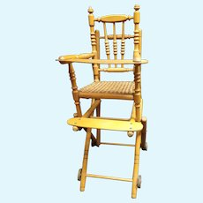 Antique  French  child's high chair for dolls in façon bamboo wood