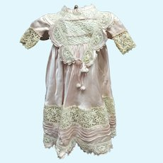 extraordinary antique french  couture silk and embroidery doll dress  for your elusive  BEBE