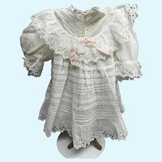 Loveliest antique white dolls dress with Bertha`s collar  and lace