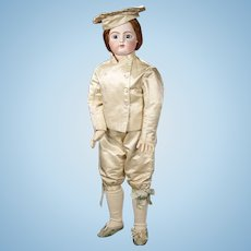 "43"" (108cm) Unique greatest perfect antique french bisque doll  F.GAULTIER  size 16  dressed as  a Chef-- pure antique silk,"