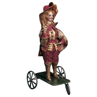 "Cutest Vichy antique automaton- pull toy  ""Musketeer with Pistol on Wheeled Base""  circa  1875, greatest costumed"