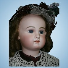 """ENORMOUS rarest  34"""" FRENCH Antique  Bebe JUMEAU Size 16 -Blue eyed, great  french couture dressed"""