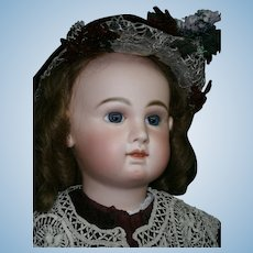 "ENORMOUS rarest  34"" FRENCH Antique  Bebe JUMEAU Size 16 -Blue eyed, great  french couture dressed"