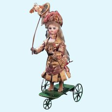 """Perfect original French Mechanical Toy  automaton """"Little Girl Catching Butterflies""""by Gustav Vichy circa 1875"""