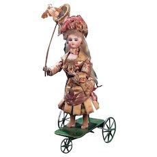 "Perfect original French Mechanical Toy  automaton ""Little Girl Catching Butterflies""by Gustav Vichy circa 1875"