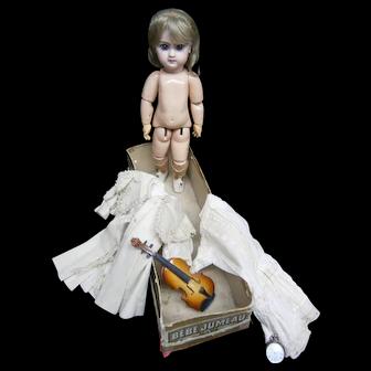 "15""(37CM) FRENCH antique original bebe    DEPOSE  JUMEAU 5 IN ORIGINAL jumeau box 5, with clothes labelled 5  -maison JUMEAU"