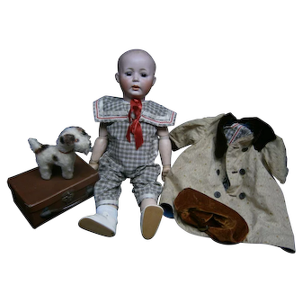 """27"""" Rarest german character antique doll 1498 by simon&Halbig size 13 , solid dome, with suitcase"""