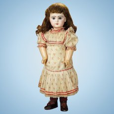 "26"" bebe DEPOSE JUMEAU  11, red flowered original chemise, marked jumeau shoes  11"
