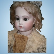 "28""(70CM)EXCEPTIONAL  Antique french bebe BRU circle dot  , doll antique dressed."