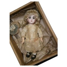 """MOST ELUSIVE 10"""" antique french Jumeau size 1 doll+ marked jumeau 1 shoes+ couture dress+ORIG BOX"""