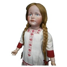 "Biggest 26"" German bisque antique doll Art character GRETCHEN mold 114 by K&R  in rarest grand sized, blue painted eyes."